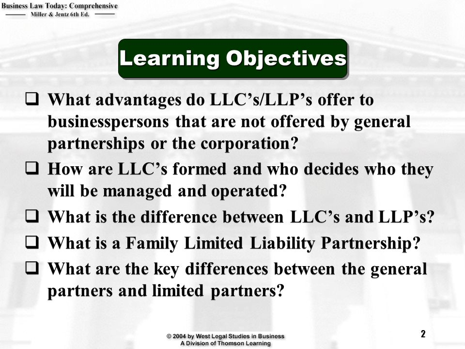 Learning Objectives What advantages do LLC's/LLP's offer to businesspersons that are not offered by general partnerships or the corporation