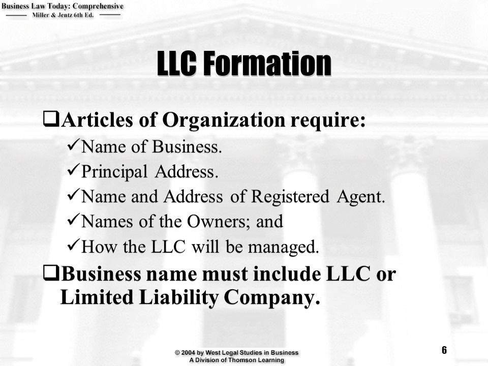 LLC Formation Articles of Organization require:
