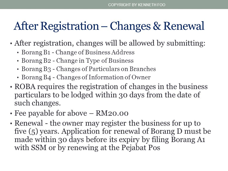 After Registration – Changes & Renewal