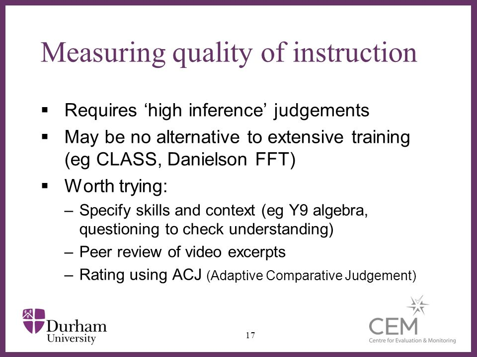 Measuring quality of instruction