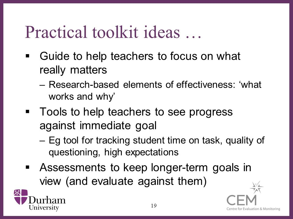 Practical toolkit ideas …