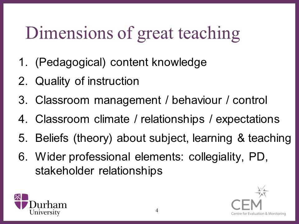 Dimensions of great teaching