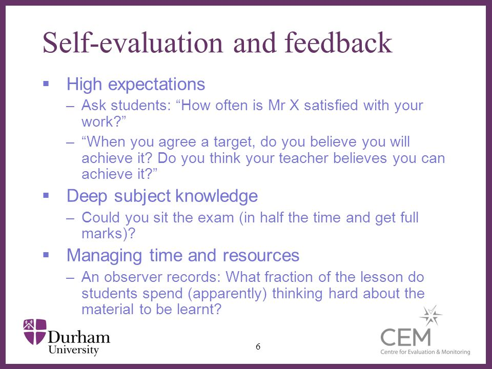 Self-evaluation and feedback