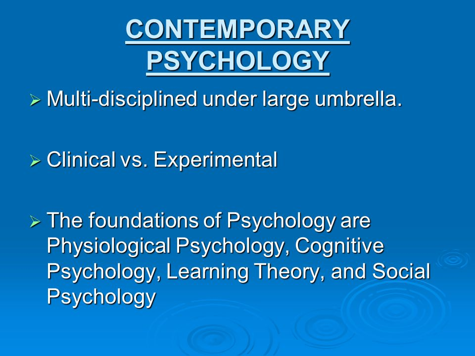 12 contemporary psychology