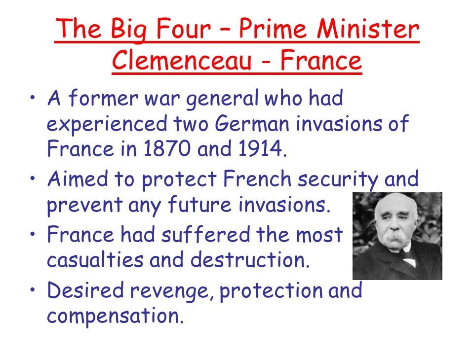 The Big Four – Prime Minister Clemenceau - France