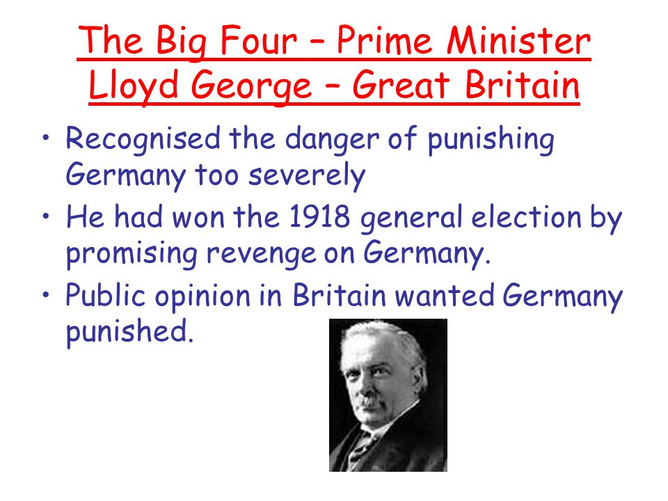 The Big Four – Prime Minister Lloyd George – Great Britain