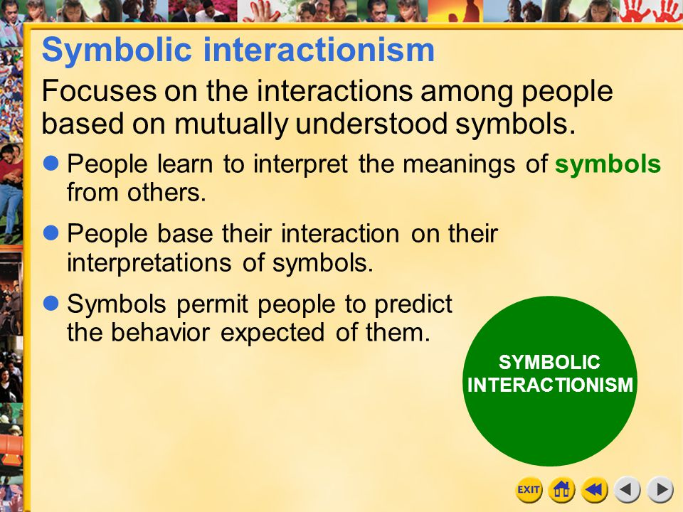 functionalist vs symbolic interactionist Functionalism versus the conflict theory versus symbolic interactionism functionalism, the conflict theory and symbolic interactionism are three distinct and common sociological perspectives that share differences and similarities due to the methods in which they evaluate society.