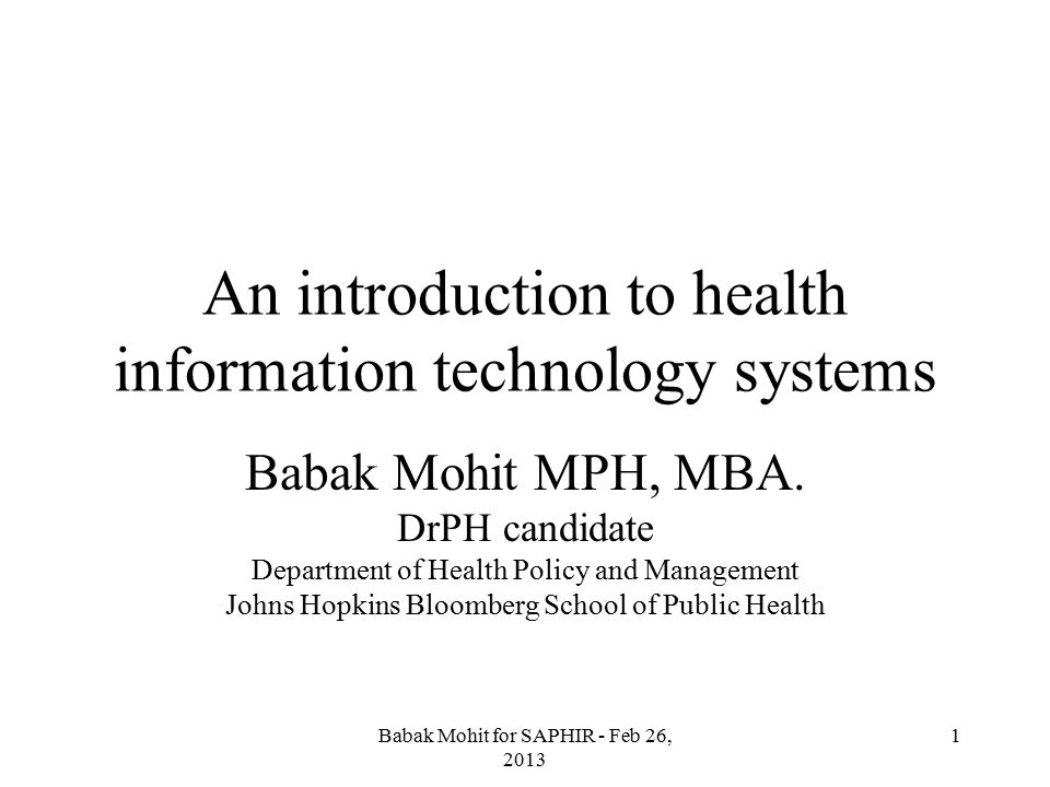 An introduction to health information technology systems