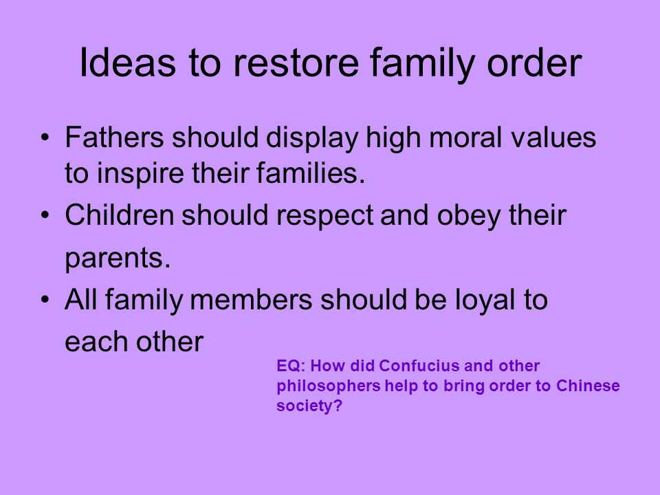 Ideas to restore family order