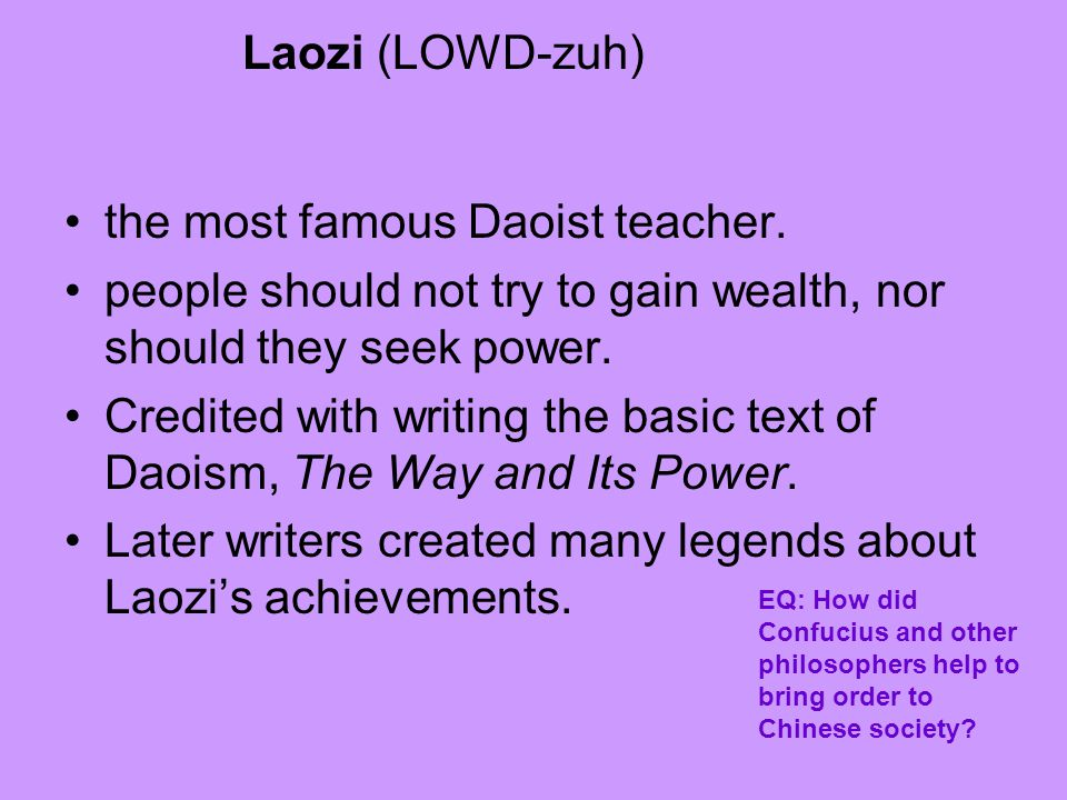 the most famous Daoist teacher.