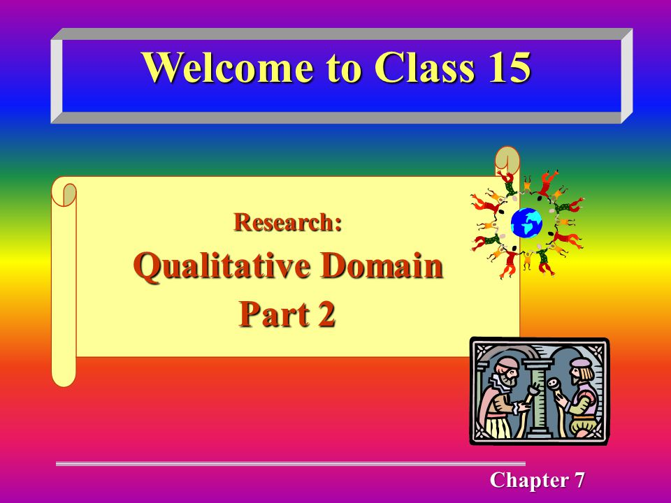 Welcome to Class 15 Research: Qualitative Domain Part 2 Chapter 7