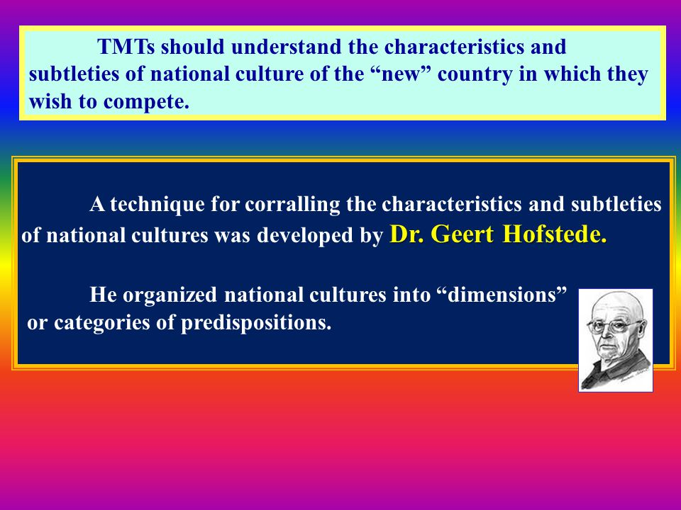 TMTs should understand the characteristics and subtleties of national culture of the new country in which they wish to compete.