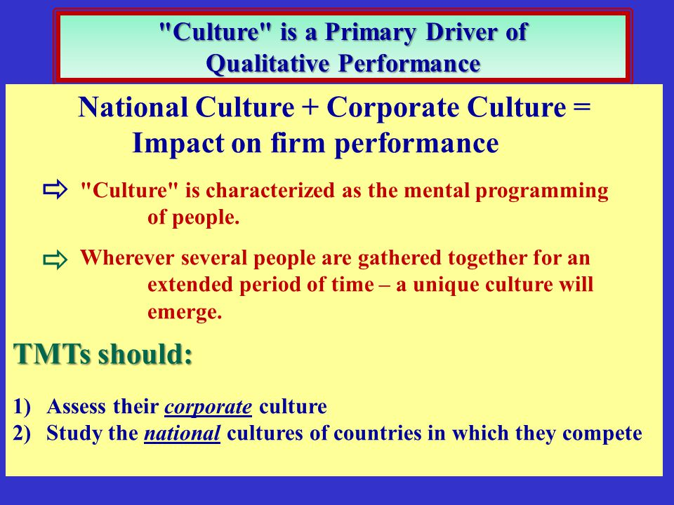   National Culture + Corporate Culture = Impact on firm performance