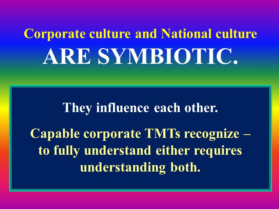 ARE SYMBIOTIC. Corporate culture and National culture