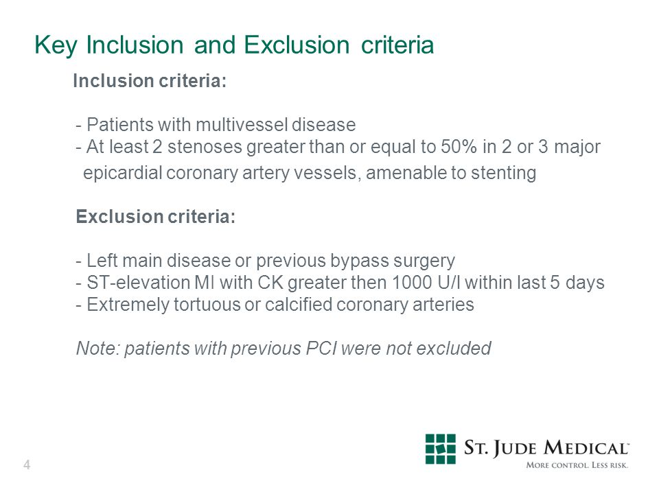 Key Inclusion and Exclusion criteria