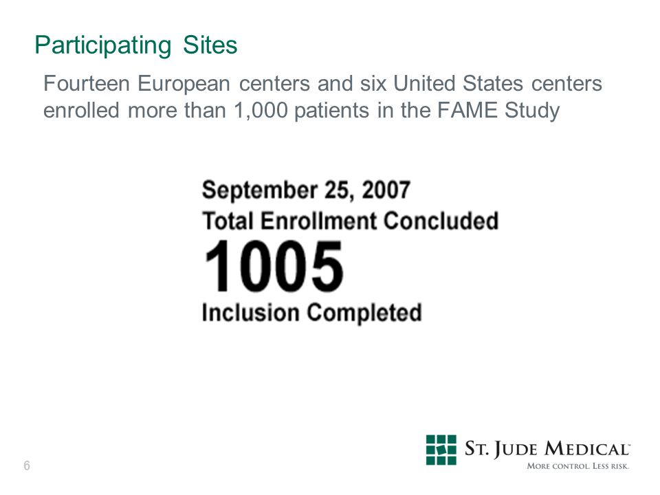 Participating Sites Fourteen European centers and six United States centers enrolled more than 1,000 patients in the FAME Study.