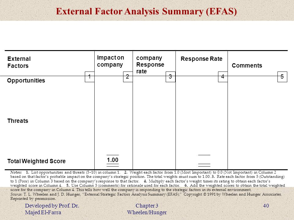 external factor analysis summary efas
