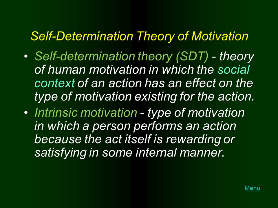 Self-Determination Theory of Motivation