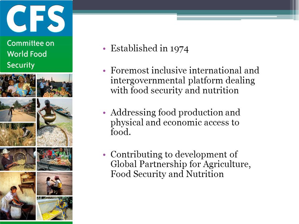 Established in 1974 Foremost inclusive international and intergovernmental platform dealing with food security and nutrition.