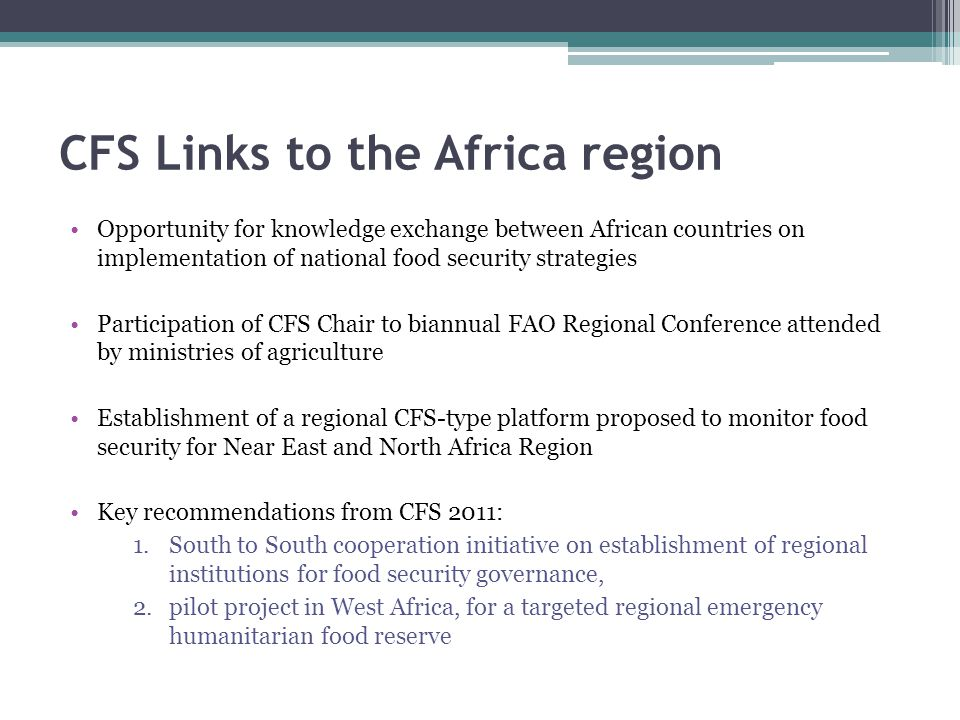 CFS Links to the Africa region