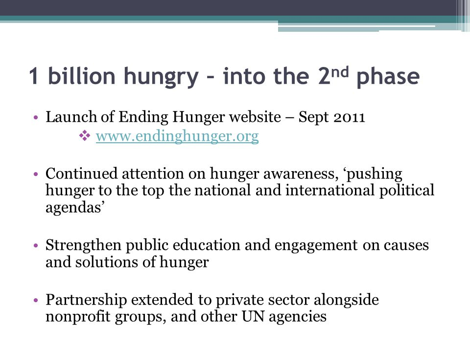 1 billion hungry – into the 2nd phase