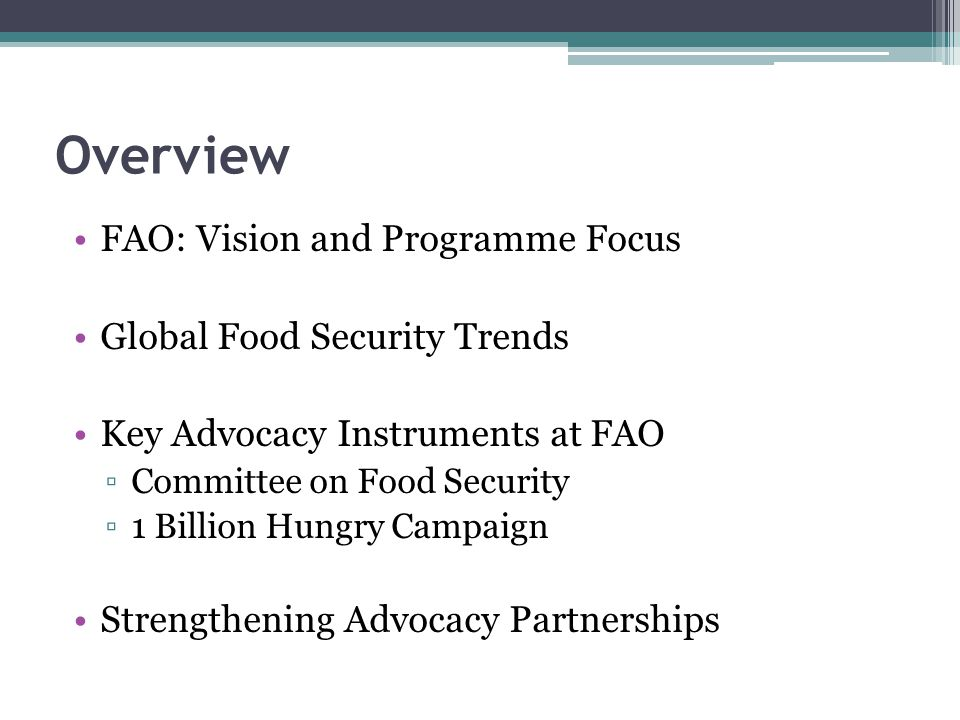 Overview FAO: Vision and Programme Focus Global Food Security Trends
