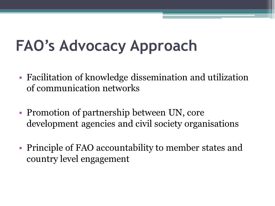 FAO's Advocacy Approach