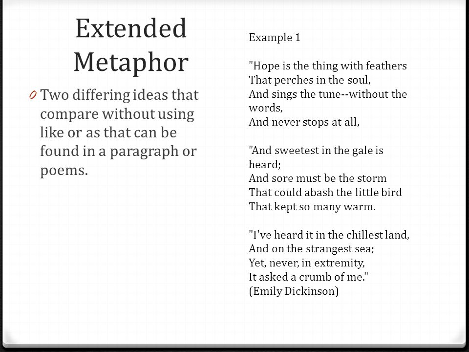 Extended Metaphor Examples In Poetry Gallery Example Cover Letter