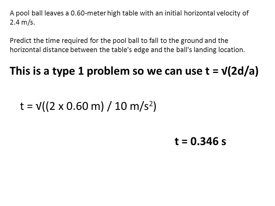 A pool ball leaves a 0.60-meter high table with an initial horizontal velocity of 2.4 m/s.
