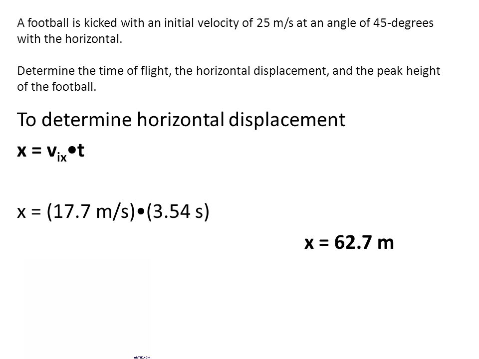 A football is kicked with an initial velocity of 25 m/s at an angle of 45-degrees with the horizontal.