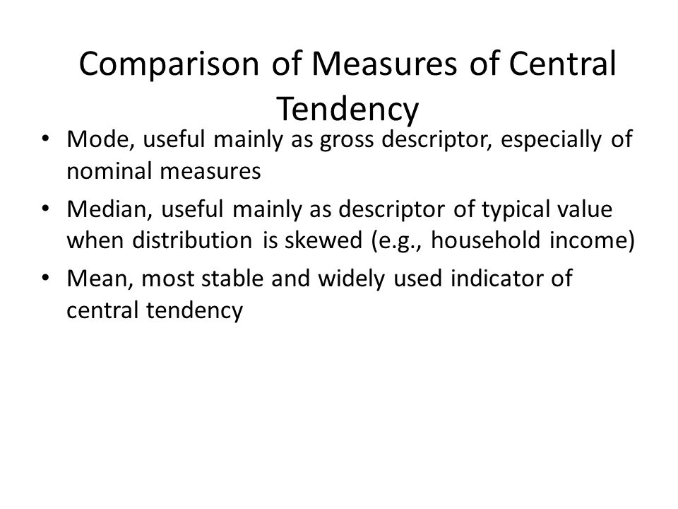 Comparison of Measures of Central Tendency