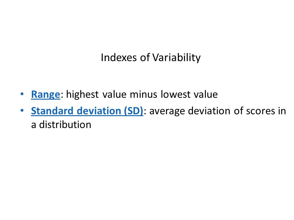 Indexes of Variability
