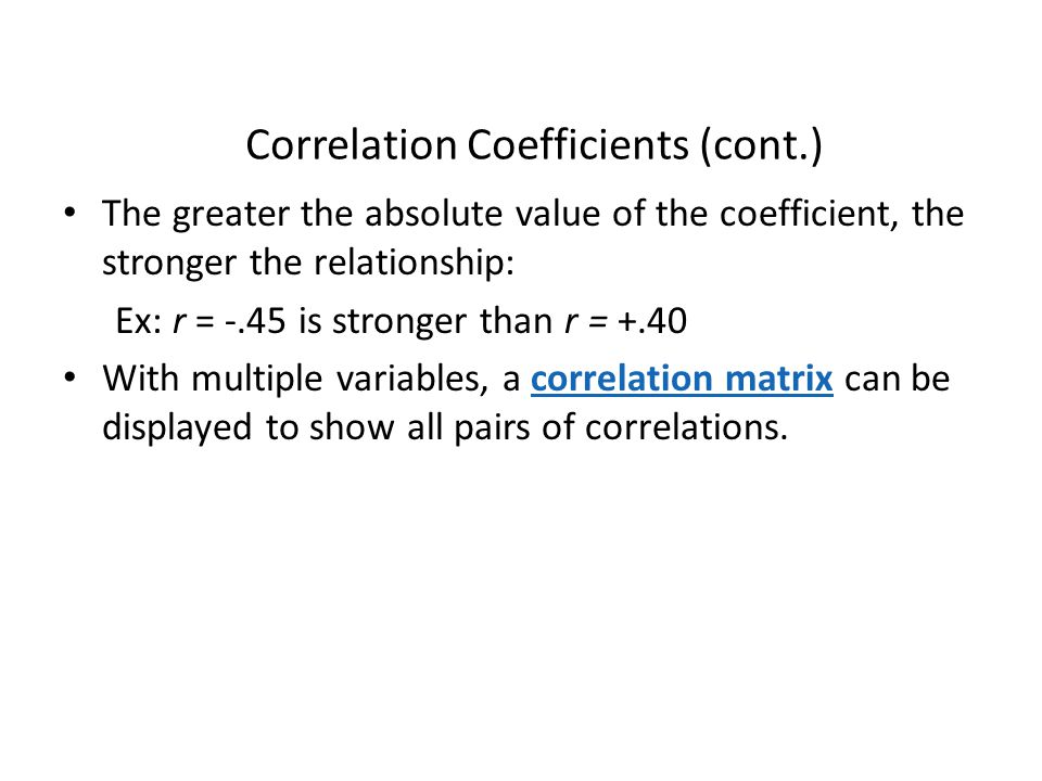 Correlation Coefficients (cont.)
