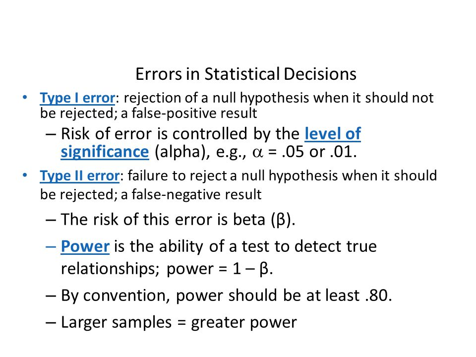 Errors in Statistical Decisions