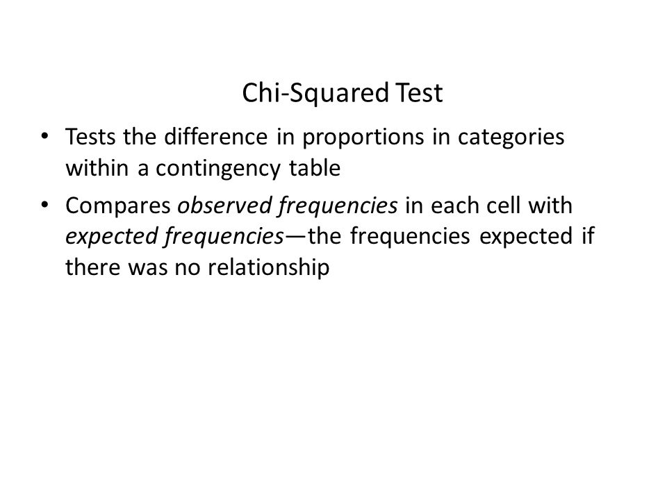 Chi-Squared Test Tests the difference in proportions in categories within a contingency table.