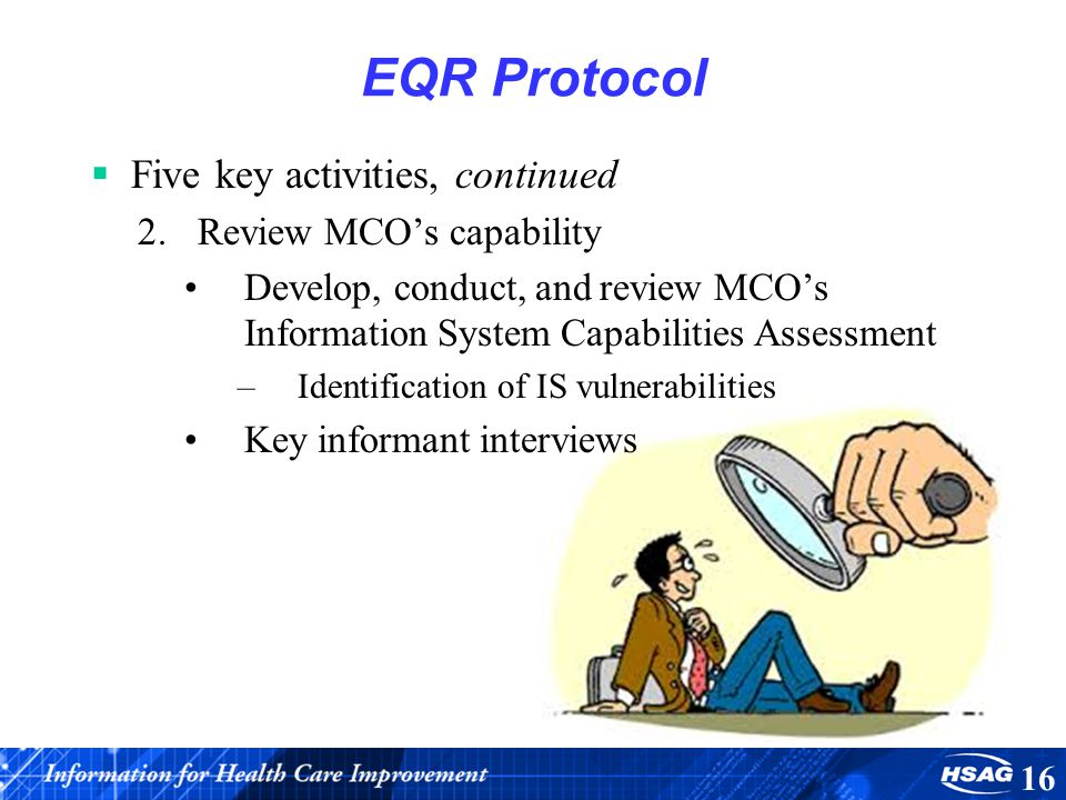 EQR Protocol Five key activities, continued Review MCO's capability