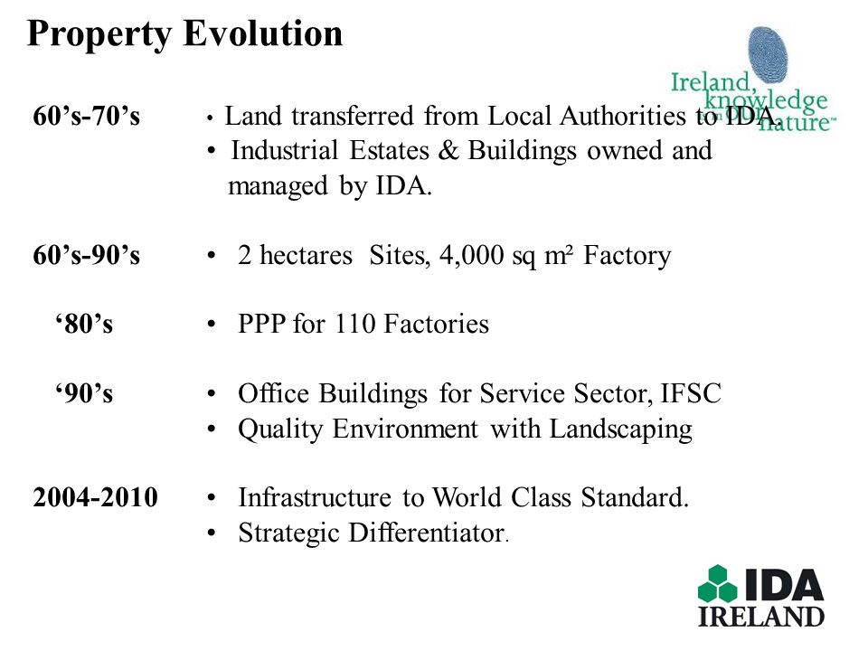 Property Evolution 60's-70's • Land transferred from Local Authorities to IDA. • Industrial Estates & Buildings owned and.