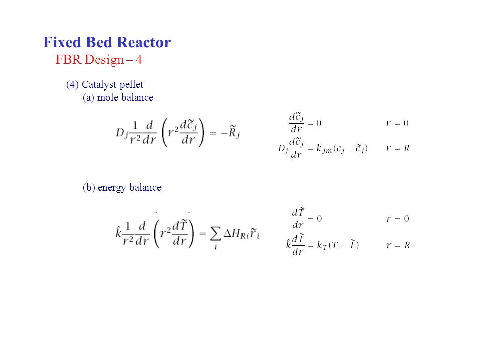 Fixed Bed Reactor FBR Design – 4 (4) Catalyst pellet (a) mole balance