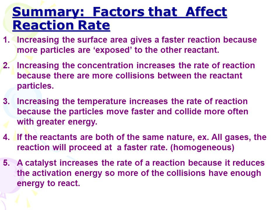 Summary: Factors that Affect Reaction Rate