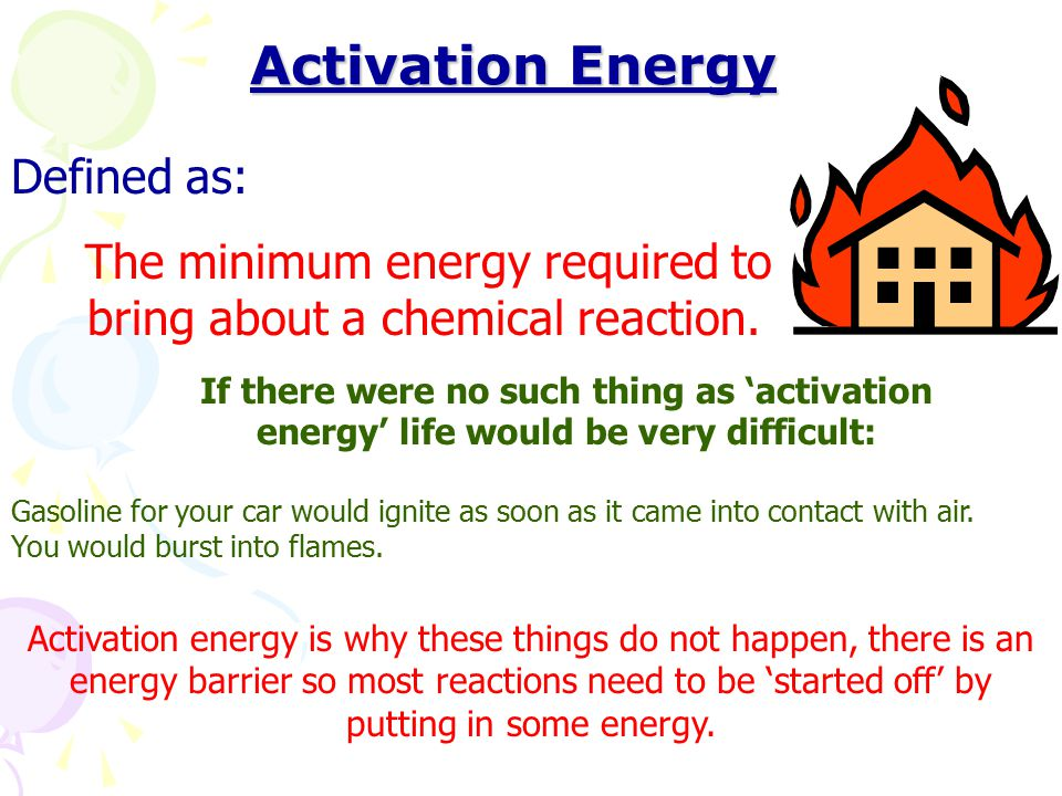 Activation Energy Defined as: