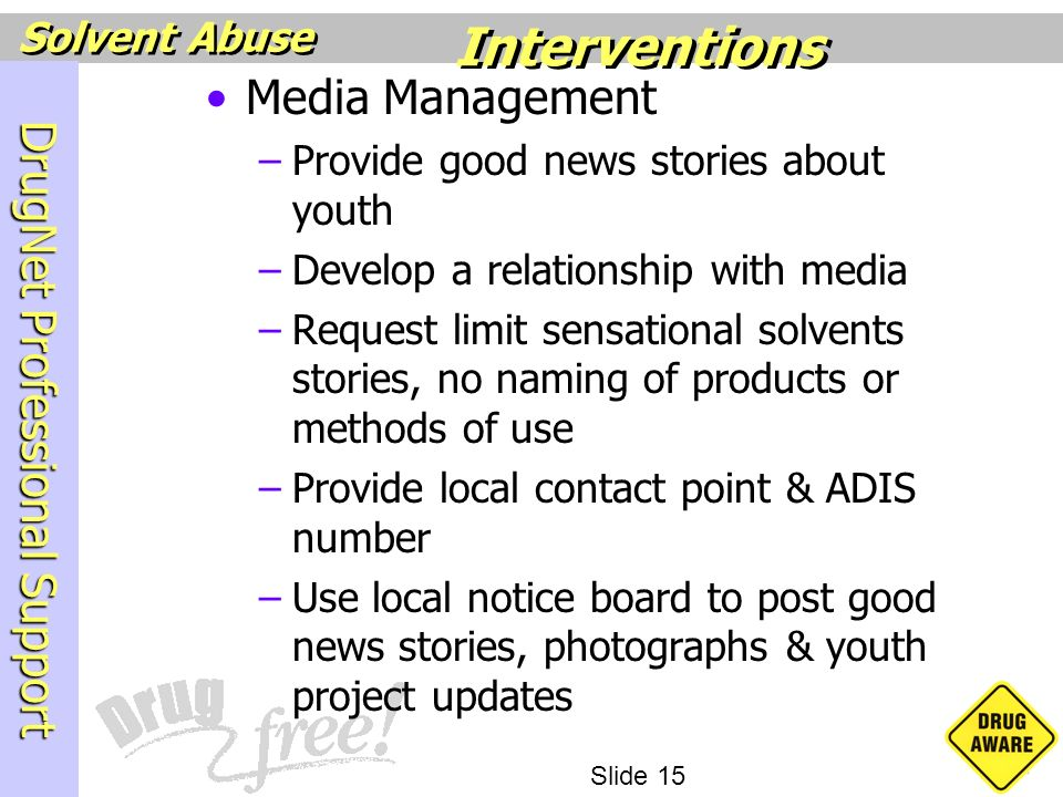 Interventions Media Management Provide good news stories about youth
