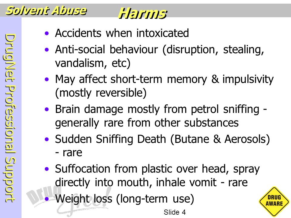 Harms Accidents when intoxicated