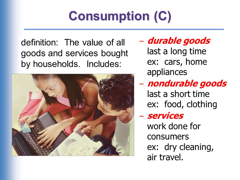 U.S. consumption, 2007 (Q3) Services Nondurables Durables Consumption