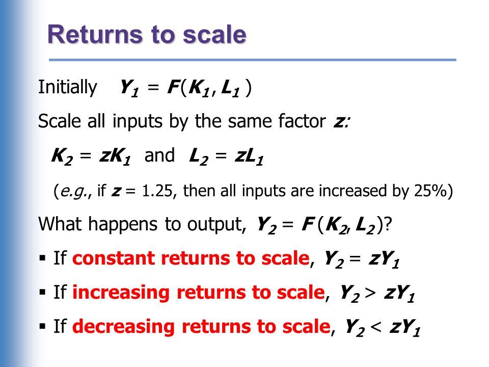 Returns to scale: Example 1