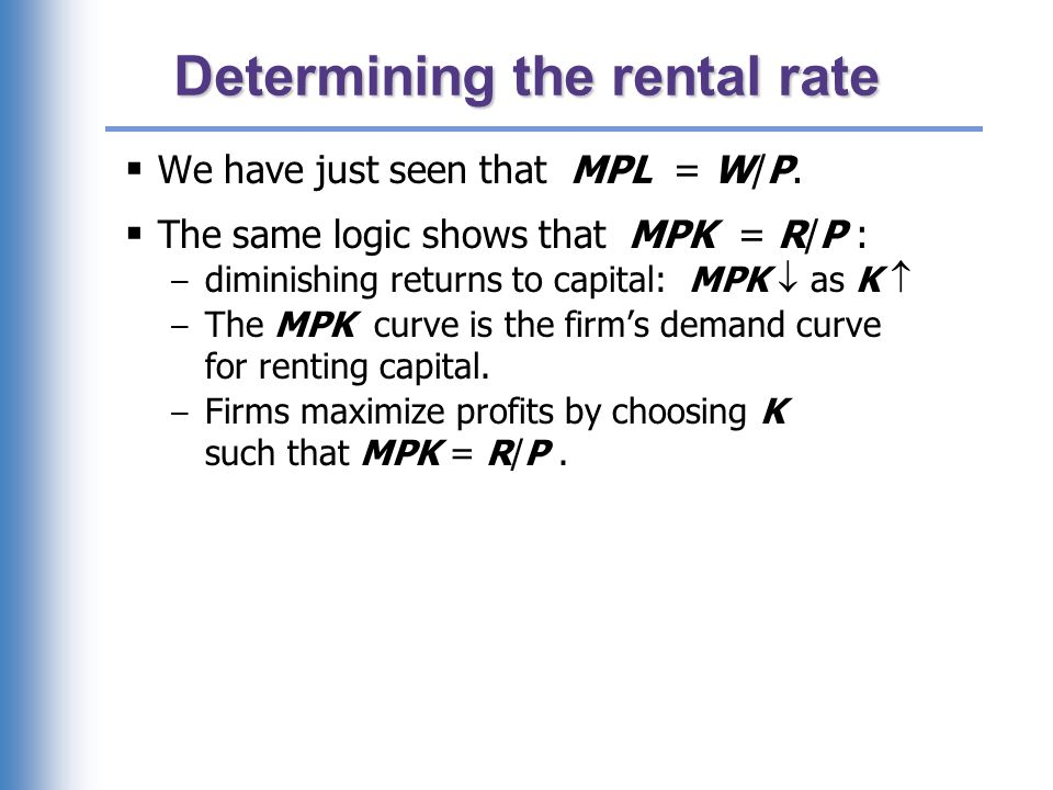 The equilibrium real rental rate