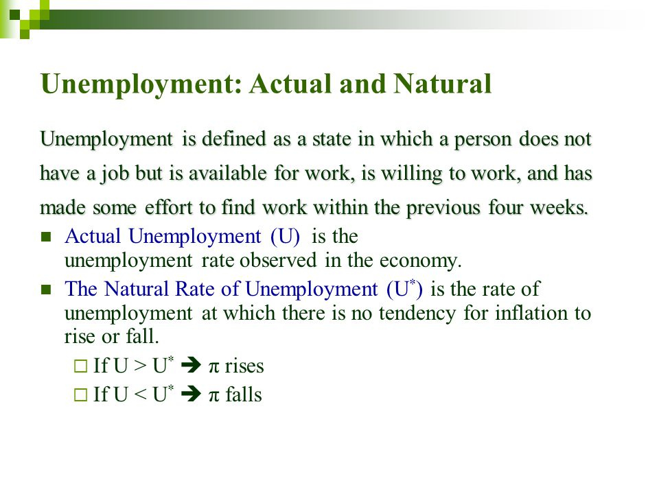 Unemployment: Actual and Natural