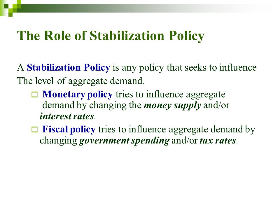 The Role of Stabilization Policy