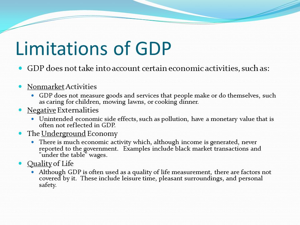 Limitations of GDP GDP does not take into account certain economic activities, such as: Nonmarket Activities.