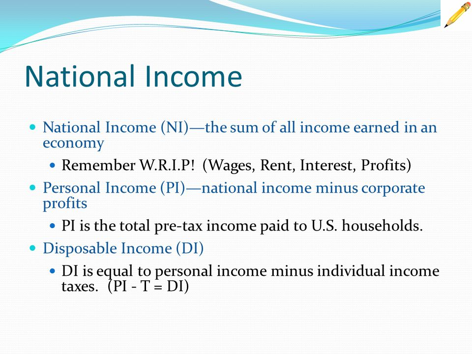 National Income National Income (NI)—the sum of all income earned in an economy. Remember W.R.I.P! (Wages, Rent, Interest, Profits)