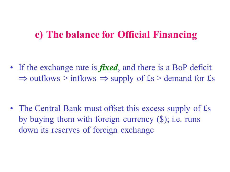 c) The balance for Official Financing